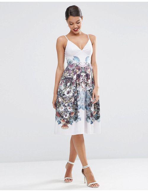 Asos | Женское Многоцветное Платье Для Выпускного Длиной Миди С Цветочным