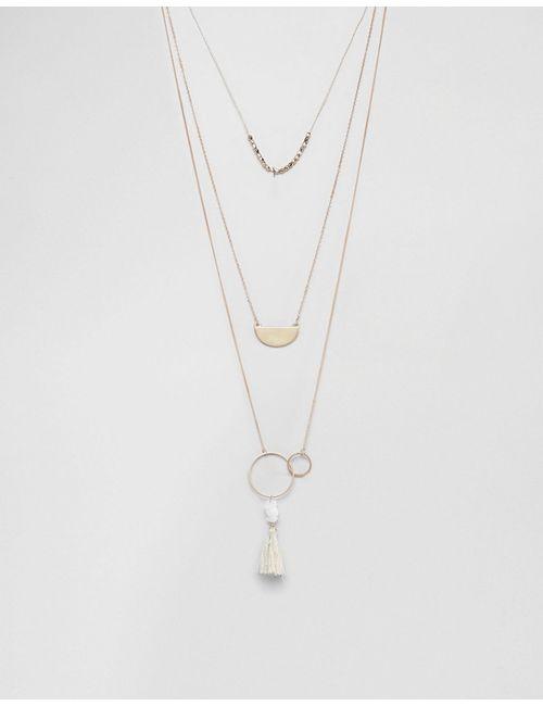 Ashiana   Золотое Ожерелье В Несколько Рядов С Кисточкой Золотой