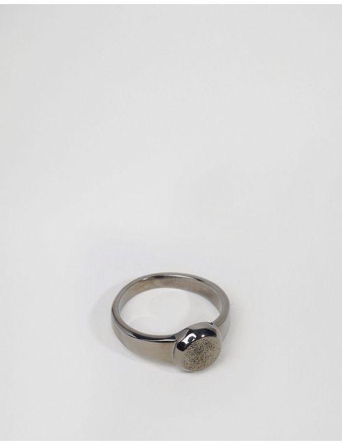 Asos | Мужское Серебряное Шлифованное Кольцо С Фактурной Печаткой Серебряный