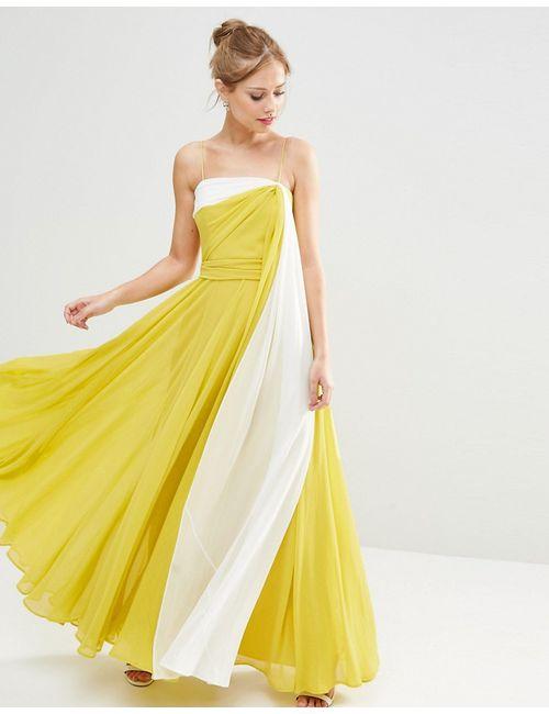 Asos | Женское Многоцветное Платье Макси В Стиле Колор Блок На