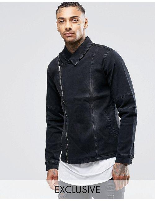 Liquor & Poker | Мужская Чёрная Черная Джинсовая Куртка С Потертостями И Выбеленным