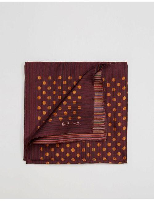 Paul Smith | Мужской Красный Шелковый Платок Для Пиджака В Горошек И