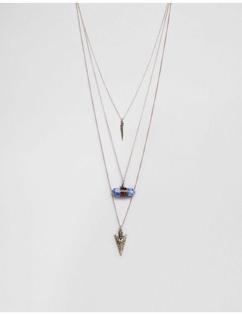 Ashiana | Ожерелье В Несколько Рядов С Подвеской-Камнем
