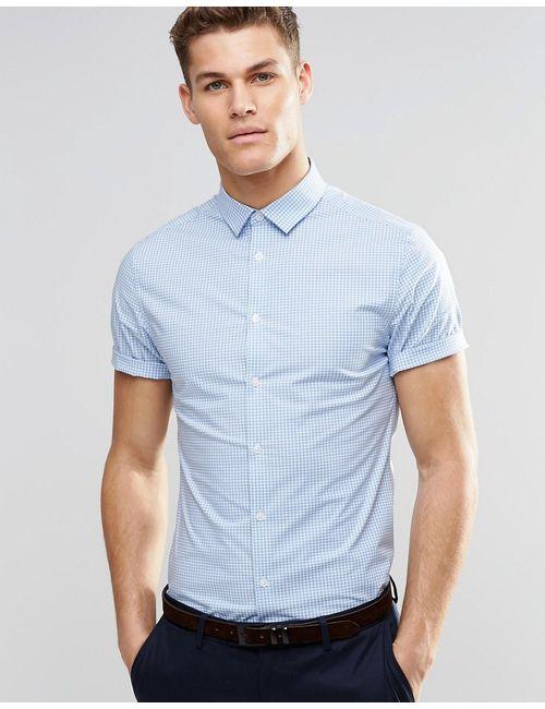 Asos | Мужская Синяя Голубая Клетчатая Рубашка Зауженного Кроя С Короткими