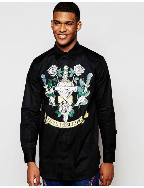 Love Moschino | Мужская Чёрная Удлиненная Рубашка С Принтом В Виде Татуировки