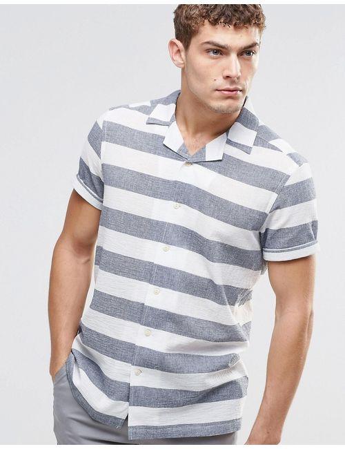 Asos | Мужская Белая Рубашка В Широкую Полоску С Короткими Рукавами