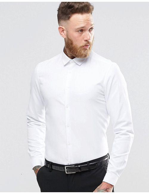 Asos | Мужская Белая Белая Строгая Рубашка Добби Классического Кроя Белый