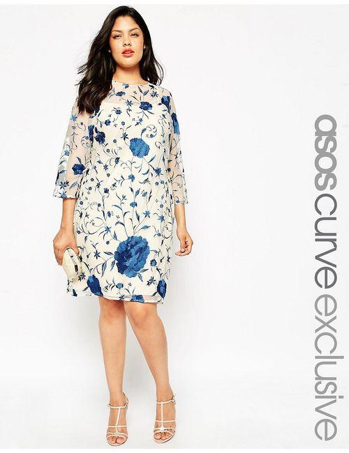 ASOS CURVE | Многоцветная Цельнокройная Рубашка С Вышивкой