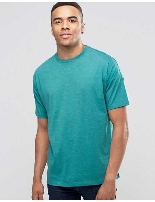 Asos | Мужская Зелёная Свободная Меланжевая Футболка Сине-Зеленый Меланжевый