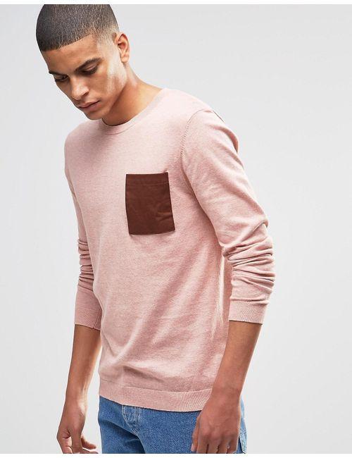 Asos | Розовый Хлопковый Джемпер С Накладным Карманом Розовый