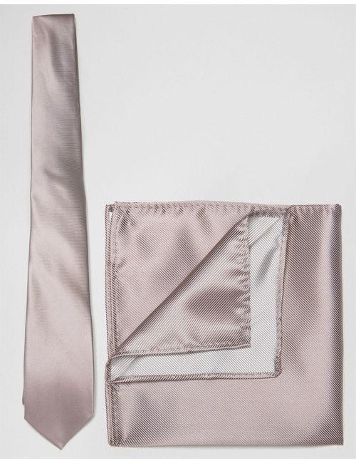 Asos   Розовый Свадебный Розовый Галстук И Платок Для Пиджака