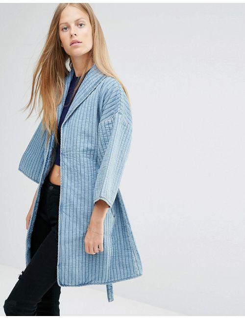 Ganni | Женская Денившая Джинсовая Куртка В Стиле Кимоно Деним