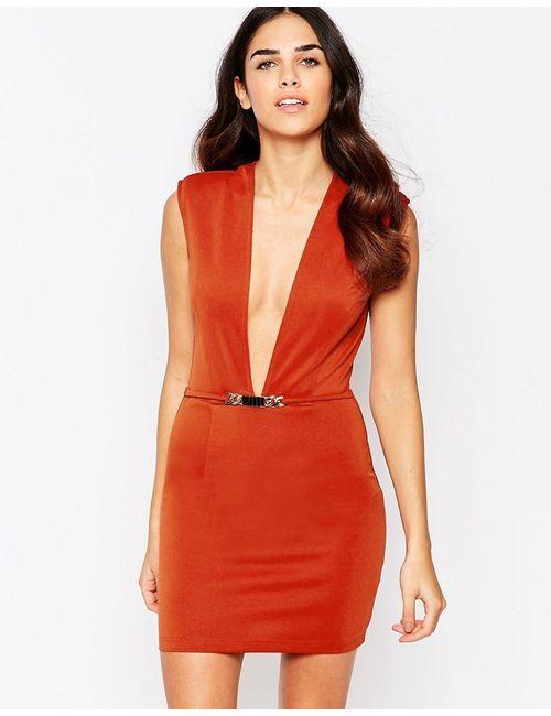 Rare | Женское Красно-Бурое Облегающее Платье С Глубоким Вырезом Красно-Бурый