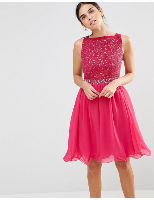 Laced In Love | Розовое Розовое Приталенное Платье Со Свободной Юбкой