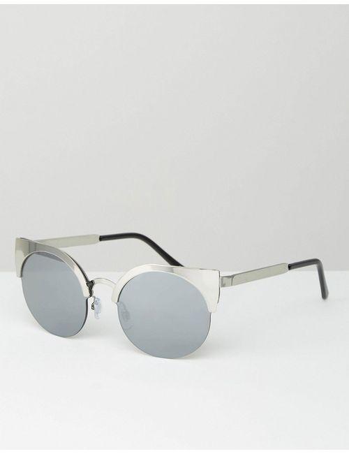 Monki   Серебряные Солнцезащитные Очки Кошачий Глаз В Металлической Оправе