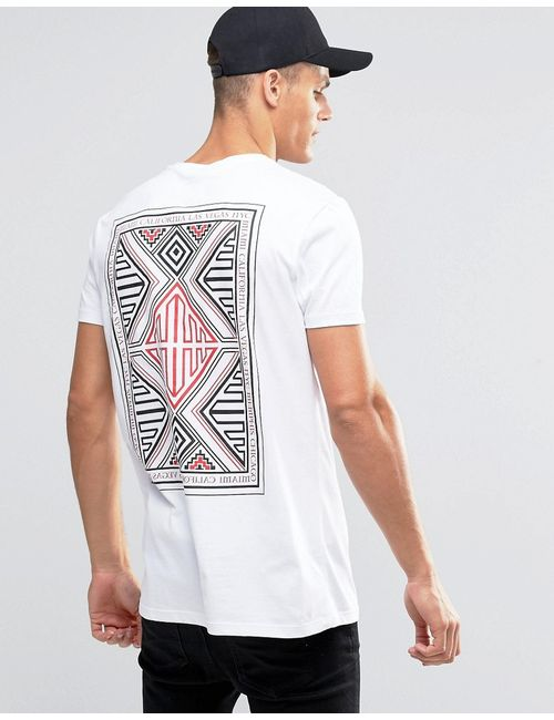 Asos | Мужская Белая Длинная Футболка С Ацтекским Принтом Сзади Белый