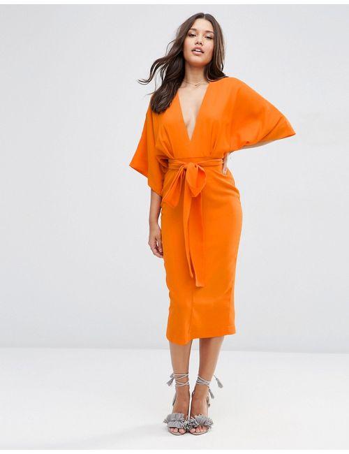 Asos | Женское Оранжевое Платье Миди В Стиле Кимоно С Глубоким
