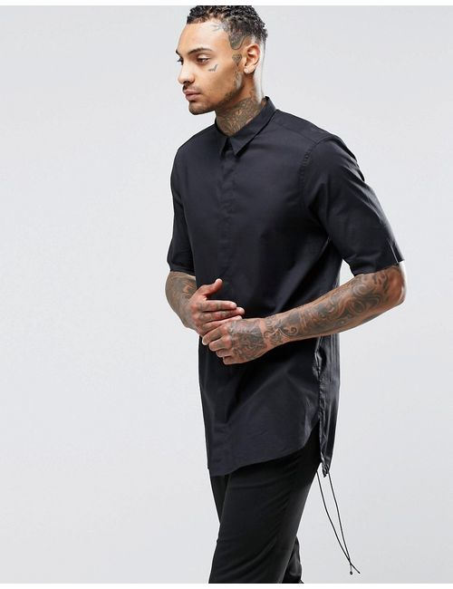 Asos | Мужская Черный Черная Полупрозрачная Рубашка С Укороченными Рукавами Черный