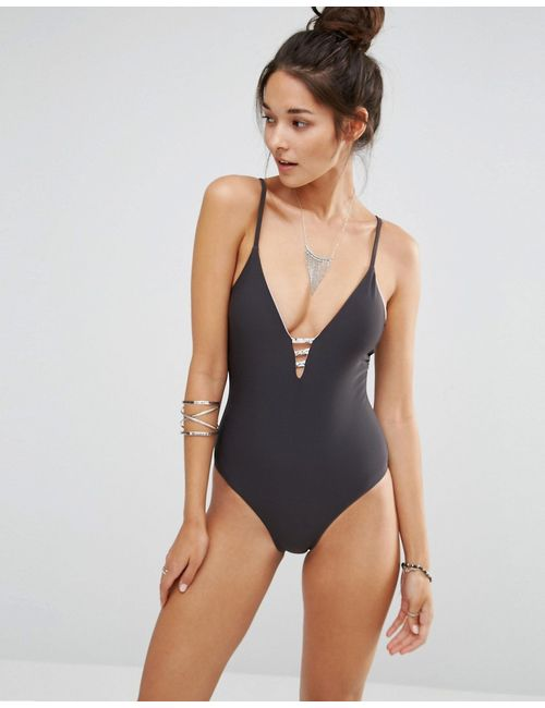 Ninety Nine | Серый Degrees Swimsuit With Strap Back