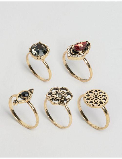 Asos | Женские Золотые Кольца С Отделкой В Винтажном Стиле Античный