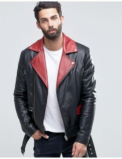 Asos   Мужская Черный Черная Кожаная Байкерская Куртка С Поясом И