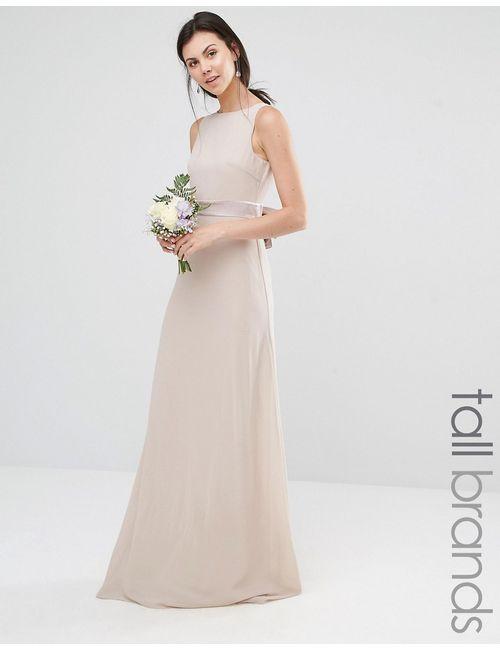TFNC Tall | Женское Розовое Платье Макси С Атласным Бантом Сзади Wedding