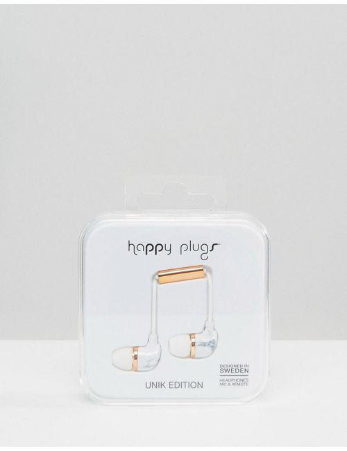 Happy Plugs | Многоцветные Белые Наушники С Мраморным Принтом Carrara Мульти