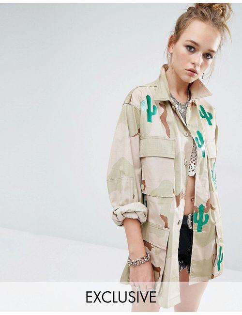 Reclaimed Vintage | Женская Песок Куртка В Стиле Милитари С Камуфляжным Принтом