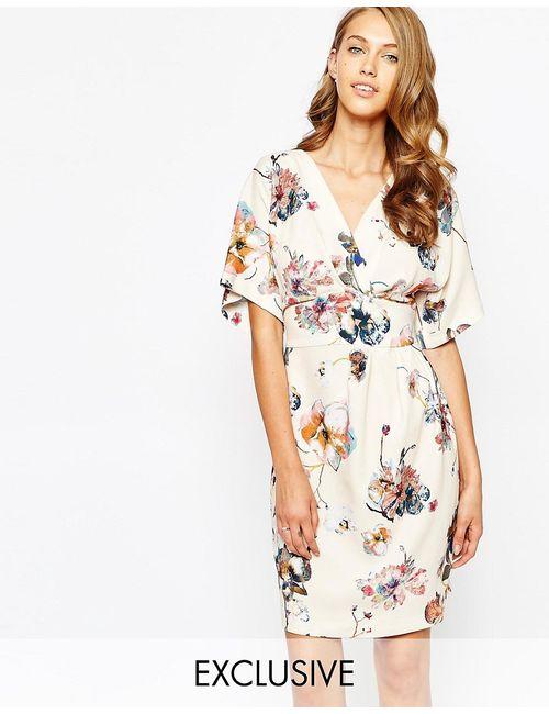 Closet   Женское Цветочное Платье С Поясом И Рукавамикимоно Obi