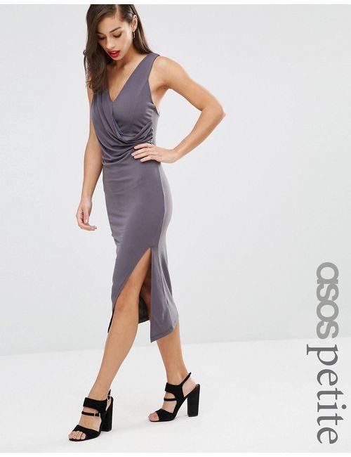 ASOS PETITE | Женское Серое Облегающее Платье Миди С Драпировкой И Перекрестной