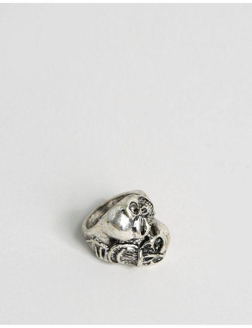 Asos | Мужское Серебряное Кольцо С Двумя Черепами Серебряный
