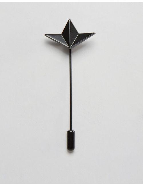 Asos | Чёрная Булавка На Лацкан В Стиле Оригами Черный