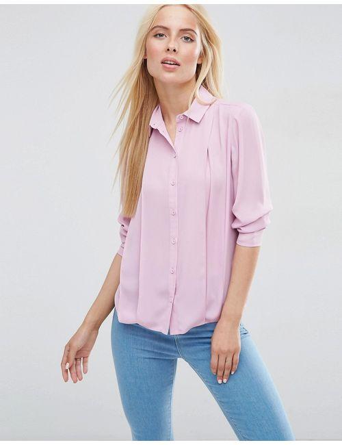 Asos | Розовая Блузка Со Складками Спереди Пыльно-Розовый