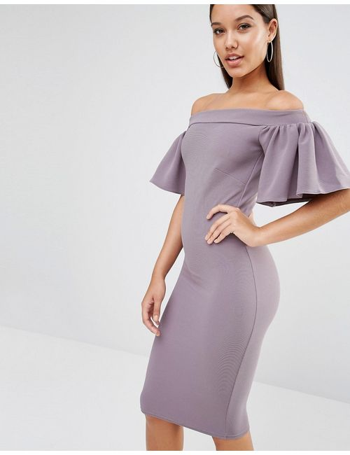 Oh My Love | Женское Серое Платье Миди С Оборкой Серый