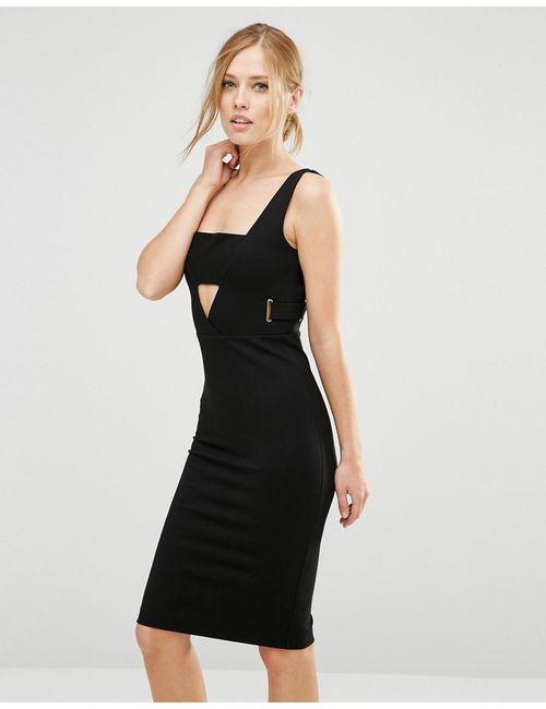 FOREVER UNIQUE | Женское Черный Платье Миди С Вырезами Toya Черный