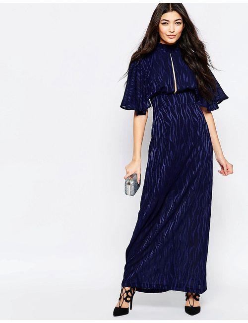 Liquorish | Женское Синее Платье Макси С Рукавами-Кимоно И Выжженным Принтом