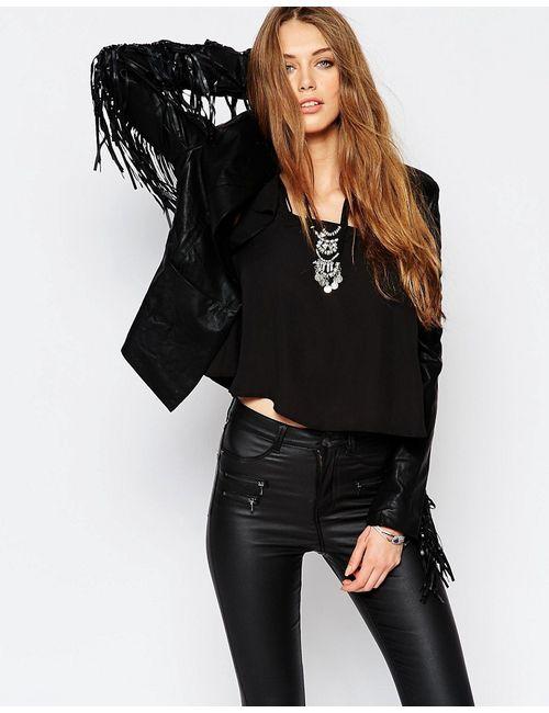 WYLDR   Женская Чёрная Строгая Куртка Из Искусственной Кожи С Бахромой