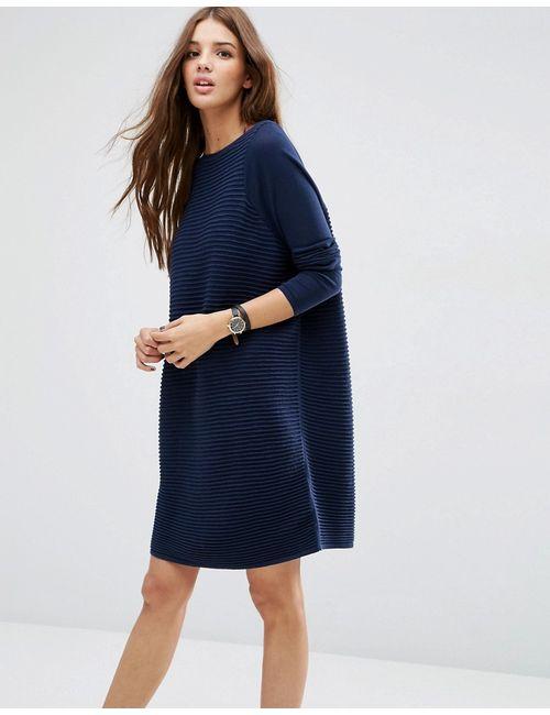 Asos | Женское Синее Свободное Фактурное Платье Темно-Синий