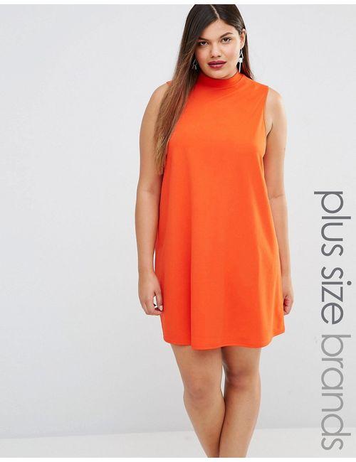 AX Paris | Оранжевое Платье С Присборенной Юбкой И Высоким Воротом