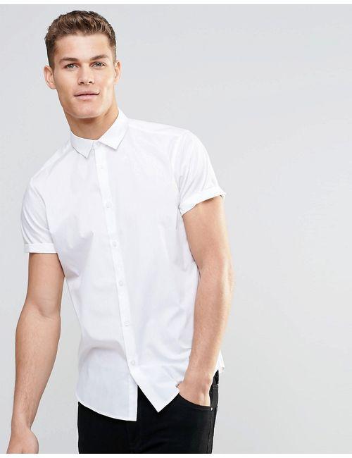 Asos | Мужская Белая Белая Рубашка В Строгом Стиле С Короткими