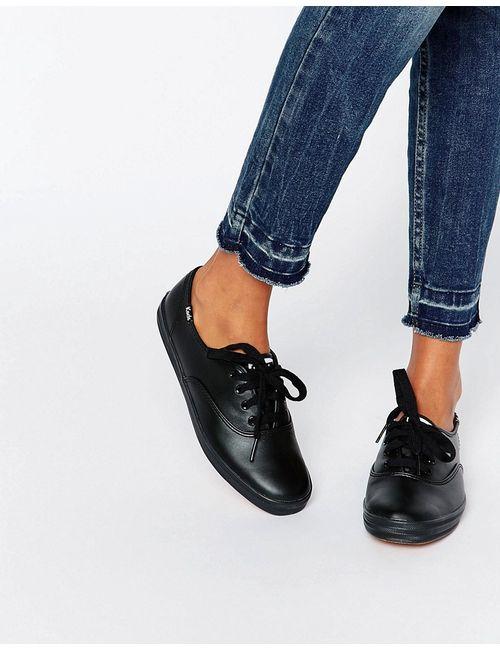Keds | Женские Чёрные Классические Кожаные Кеды Черный