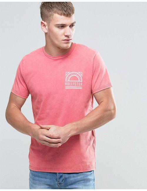 Hollister | Мужская Розовое Виная Красная Футболка Классического Кроя С Принтом Розовое