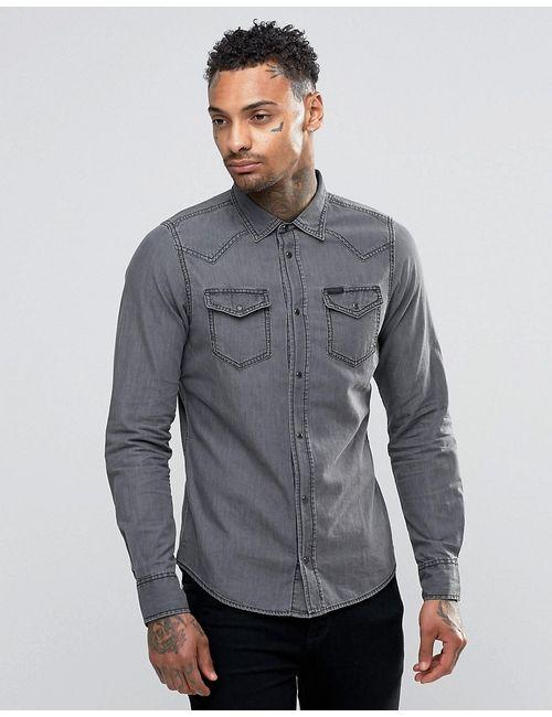 Diesel | Мужская Серая Светлая Джинсовая Рубашка В Стиле Вестерн New-Sonora-E