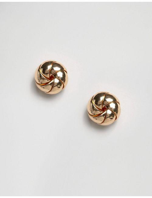 Asos | Золотые Серьги-Гвоздики В Виде Пончиков Золотой