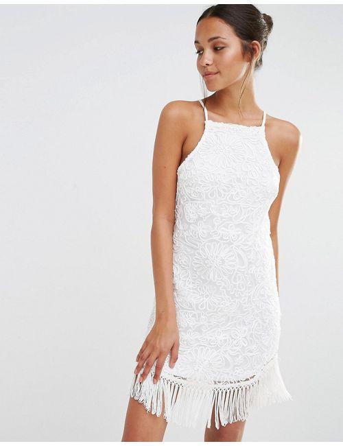 MISSGUIDED | Белое Платье С Кружевной Отделкой И Кисточками