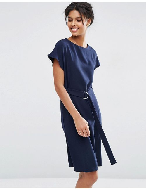 Asos | Женское Синее Платье Миди С Поясом И Dобразной Пряжкой