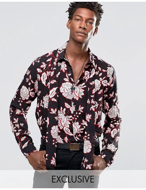 Reclaimed Vintage | Чёрная Рубашка Классического Кроя С Шарфом Черный