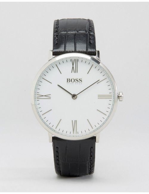 HUGO BOSS | Мужские Чёрные Часы С Черным Кожаным Ремешком И Белым