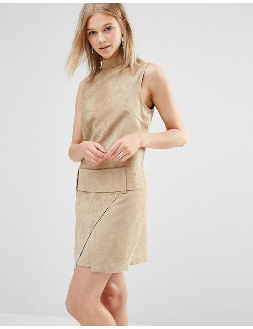 Shades of Grey | Женское Кэмел Замшевое Платье Мини Из Искусственной Замши С Заниженной