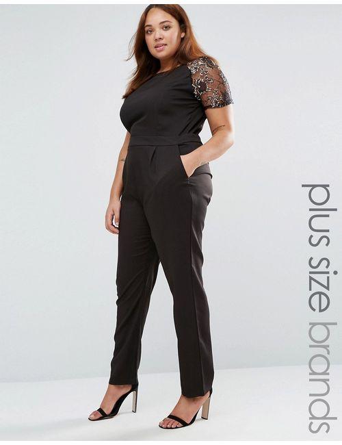 Praslin | Чёрный Комбинезон С Кружевной Отделкой Лифа Plus Черный